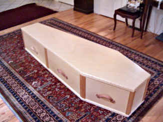 Hand crafted burial caskets made of the finest woods and materials by a Pennsylvania Dutch craftsman near Bethlehem, Pennsylvania.
