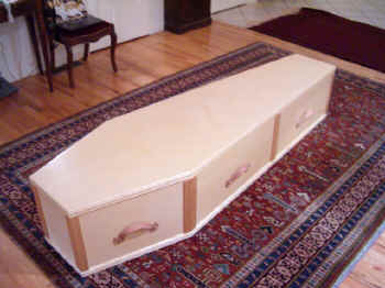 Hand crafted caskets are a practical alternative to conventional caskets.